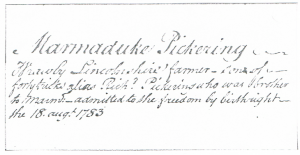 Marmaduke Pickering b1762 freedom of Hedon by birthright
