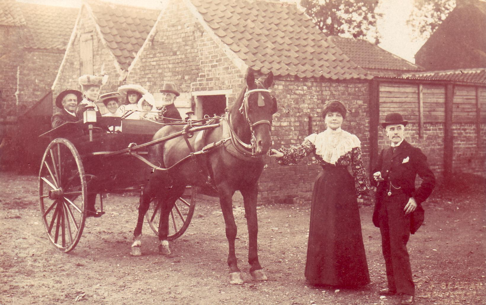 In buggy: unknown, Jemima Pickering, Edith Pickering, Renee Kellington, unknown, unknown. Standing: Ann Pickering, Charles Kellington. Sproatley c1900