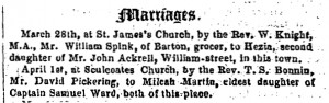 marriage of David Pickering to Milcah Martin Ward Hull Packet, 1 April 1852