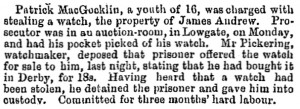 stolen watch offered for sale Hull Packet, 1 January 1858