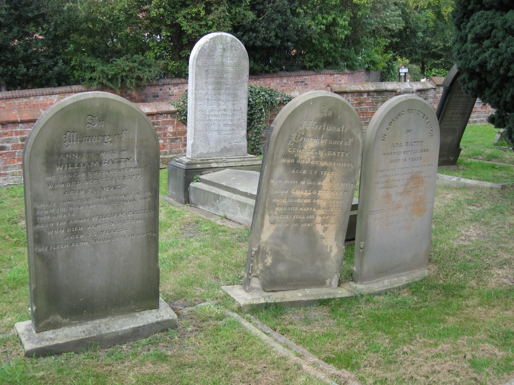 gravestones of Battys of Keyingham Hedon churchyard
