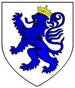 argent lion rampant azure crowned or