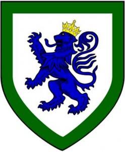 argent lion rampant azure crowned or orle vert