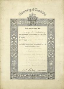school certificate, 1907