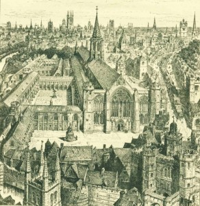 Christ Church Greyfriars before the Great Fire, 1666