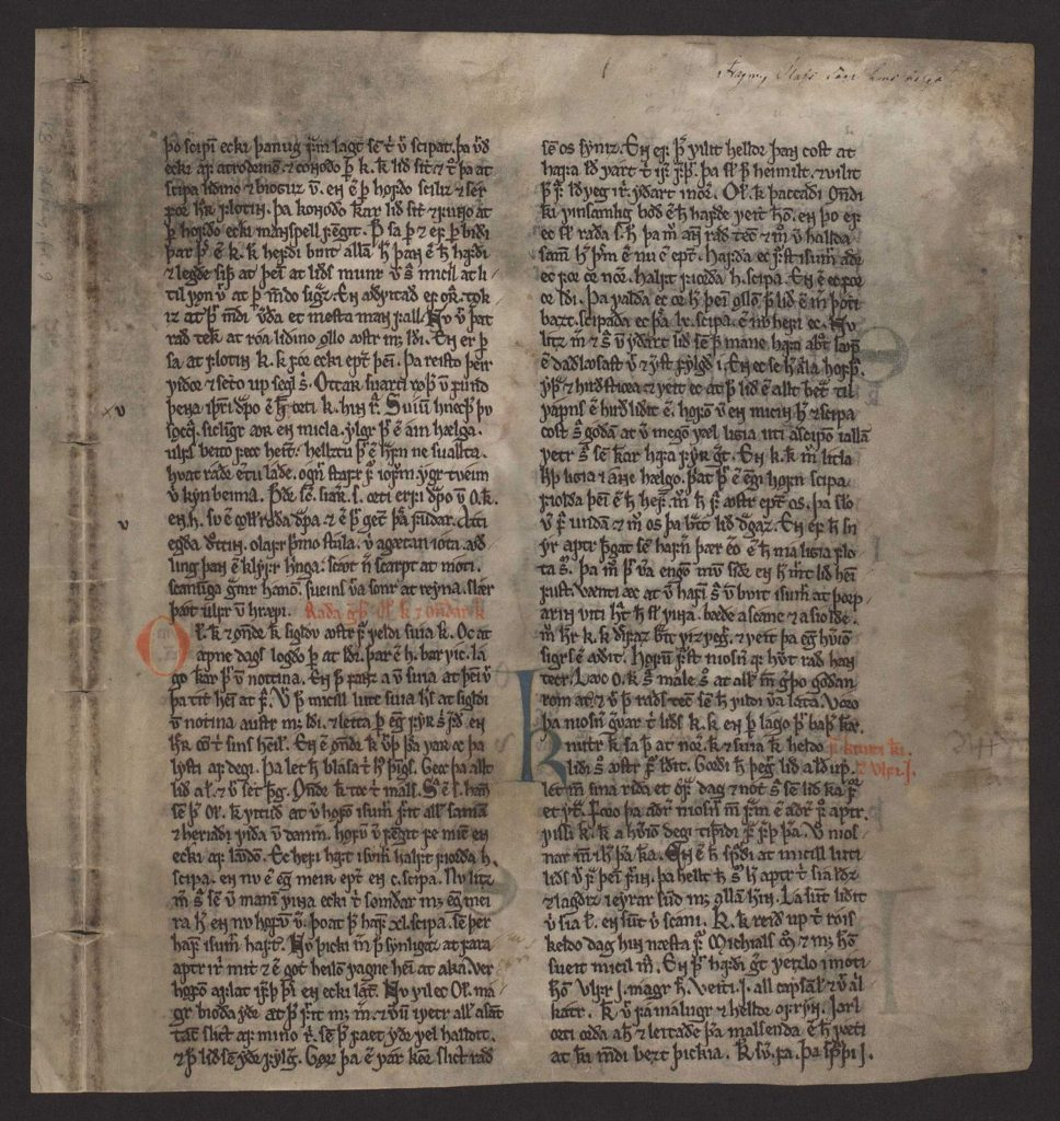 a page from the Heimskringla